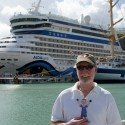 With Poppy in St.John\'s Antigua.  Look at the huge ship!