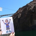 Paper Jackson on the Colorado River at the base of the Hoover Dam.